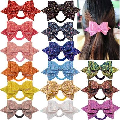 15 Colors Girls Glitter Bows Elastic Hair Ties Women Sparkly Bow Ponytail Holder