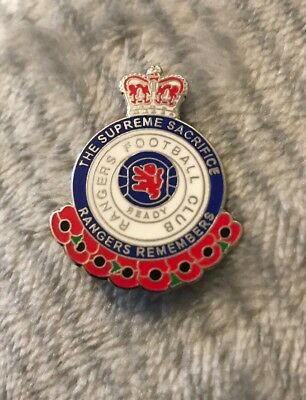 Glasgow Rangers Supporter Enamel Badge - The Supreme Sacrifice - Wear With Pride