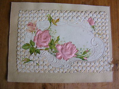 Image Chromo Cutting embossed dressed silk XIX Roses flowers