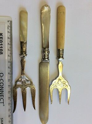 Antique Vintage Cutlery Silver Plate Hand Engraved Mother Of Pearl / Bone Handle