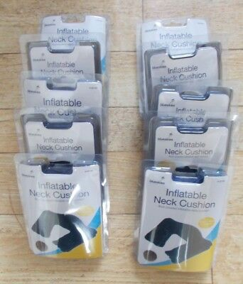 10 Flock Covered Inflatable Neck Cushions - Travel Accessories - Job lot - New