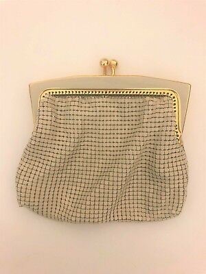 GC vintage mesh wallet purse  gold & cream with kiss clasp