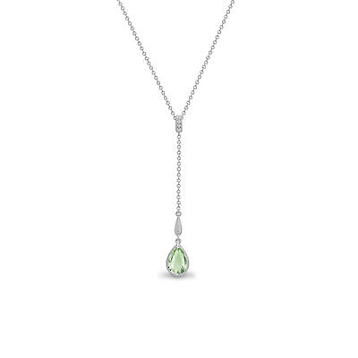 Jewelco London 18 Carats or Blanc Diamant Vert Améthyste Pendentif Collier