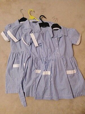 4 x Girl's Banner Blue & White Striped School Summer Dresses Size 7-8
