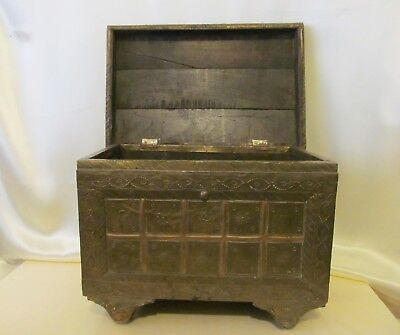 Authentic Antique Copper on Wood Tibetan Wheeled Chest