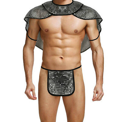 XL Mens Underwear Set Fancy Dress Sequins G-string Cape Cosplay Costume Outfit