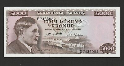 Iceland 5000 Kronur Banknote 29.3.1961Choice Uncirculated Condition, Cat#47-A-82