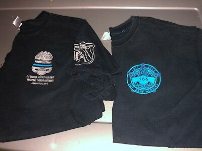 2 Different FLORIDA In Memory Memorial POLICE Dept Shirts Large