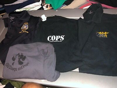 4 Different  POLICE Dept Shirts Large