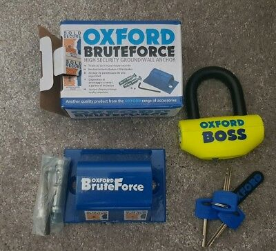 Oxford BOSS Motorcycle Motorbike Brake Disc Lock 14mm and bruteforce wall anchor