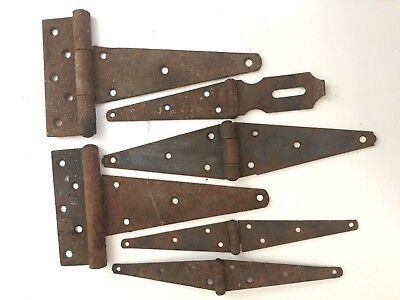 Antique Steel Hinges Lot: Vintage Rustic Barn Hardware + Hinged Hasp