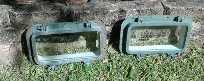 Pair of Matching Vintage Hinged Portholes - Brass & Glass Rectangular Porthole