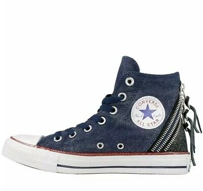 f22baace7300 Converse Womens Girls CT All Star Hi Top Triple Zip Trainers Navy UK Size  3.5
