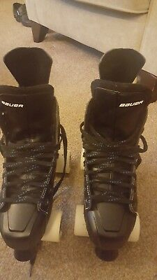 Nexus 5000 Bauer quad roller skates , with Sure Grip wheels used for 2 hours .