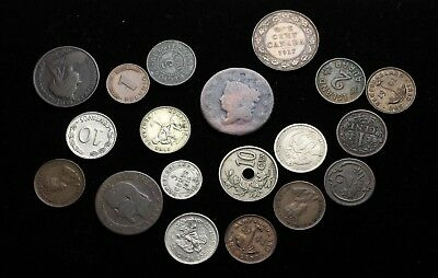 Estate Sale - Lot of 20 assorted old world coins, 1800's and early 1900's