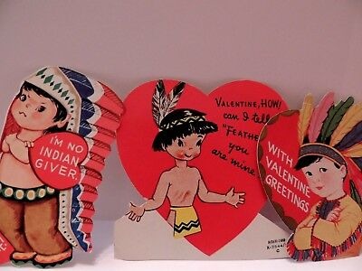 #201 Vintage Valentine Card LOT 3 Native American Indian Theme 1940's 50's era