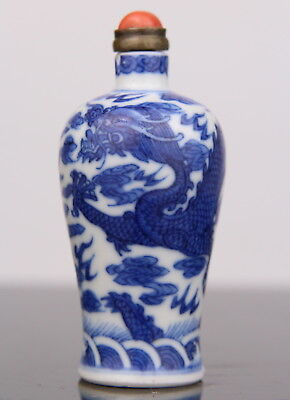 Anrique Chinese Blue White Porcelain Snuff Bottle Dragon Marked 18th C. Qing