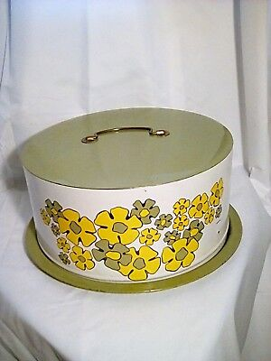 Vintage Tin Floral Cake Carrier Pie Taker Holder Yellow Green floral