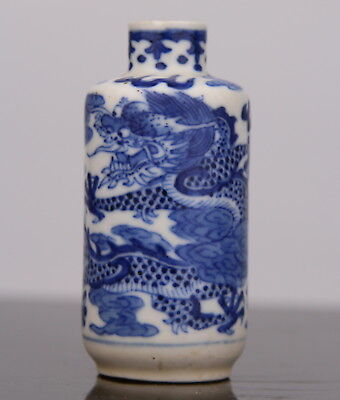 Antique Chinese Blue White Porcelain Snuff Bottle Dragon 18th 19th C. Qing