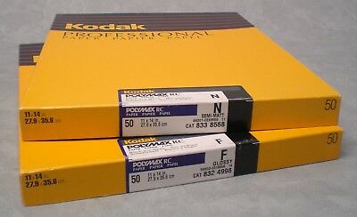 "TWO (2) 50-sheet boxes Kodak Polymax RC B&W paper, 11x14"". SEALED, UNOPENED."