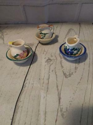 Vintage Miniature Dollhouse Furniture Ceramic Pitcher and Bowl Lot of 3