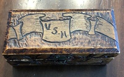 "Old Vintage Antique - Wood Trinket/Tramp Art Box - Rare (4"" X 2"" X 1.75"")"