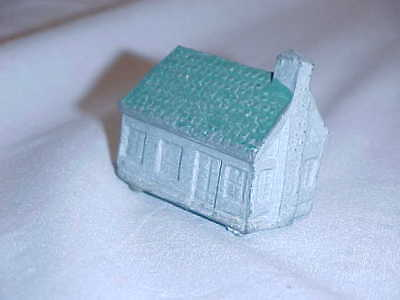 Small Vintage Cast Metal/Lead House Gray Green Roof