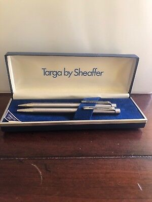 Stainless Steel Targa By Sheaffer Pen And Pencil Set In Original Box