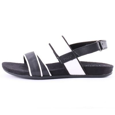 9cf41ca3ef4 Toms Tierra Leather Black White Womens Flat Strapy Sandals Brand New Boxed