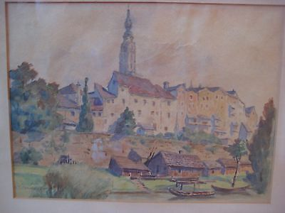 Antique Austrian Cityscape Painting Signed Anton Filzmoser Listed Vintage Old Nr