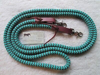 "10' x 1/2"" Turquoise Brown Snakeskin Trail Training Yacht Rope Reins w Leathers"