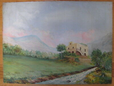 Antique Italian Landscape Oil Painting Signed Fabricatore Vintage Old European