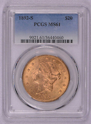 PCGS graded 1892 S S $20 Gold Liberty coin, free shipping!
