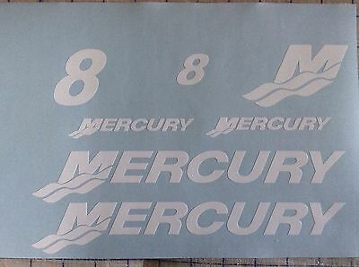8 Hp Mercury outboard decal set - Boat motor replacement decals