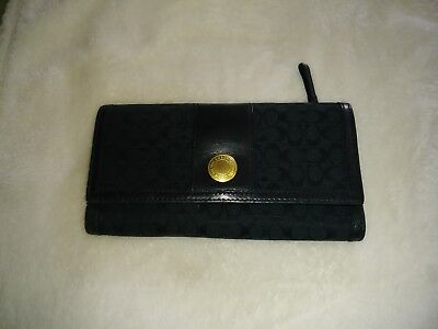 Coach wallets for women used black signature with gold hardware vintage