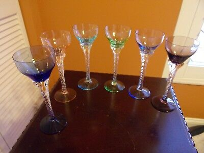 vintage colored cordial glasses