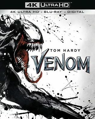 Venom w/Slipcover (4K Ultra HD, Blu-ray, Digital, 2018) New