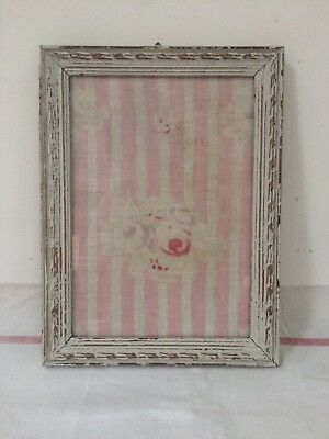 Beautiful French Antique Fabic Picture  Frame Faded Pink Florals