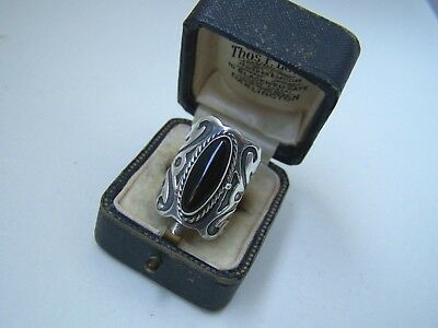 Gorgeous Ornate Wide Solid Sterling Silver Onyx Locket Pill Poison Ring Size L