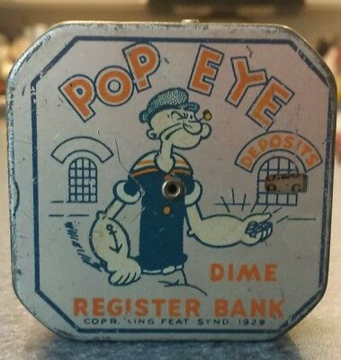 Vintage POPEYE 1929 Dime Register Bank