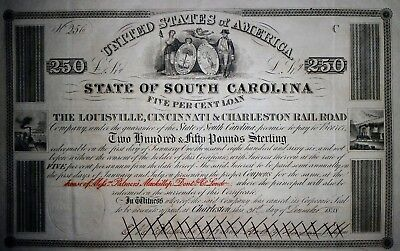 1838 State of South Carolina 250 Pounds Sterling Railroad Bond