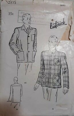 1940s Butterick Vintage Sewing Pattern MEN'S Sports Car Jacket 2375 Small cut