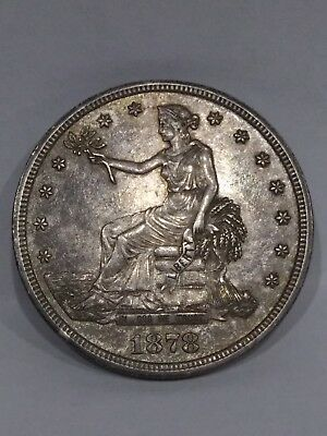 1878 s Trade Dollar Toning Uncertified Not Cleaned