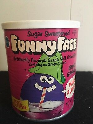 1970s Goofy Grape Funny Face Drink Mix Canister Doll Premium Offer, Great!