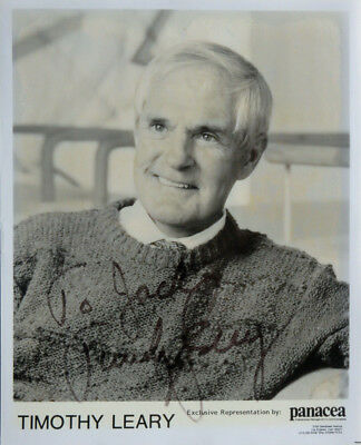 """TIMOTHY LEARY Rare Original Signed Autographed Promo 8"""" X 10"""" Publicity Photo"""