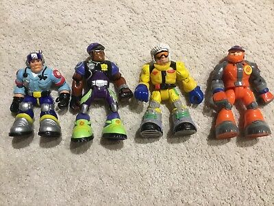 Lot of 4 Mattel Fisher Price Rescue Heroes Action Figures Kenny Ride & Al Pine
