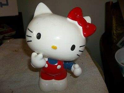 """sanrio MISS KITTY ceramic bank VINTAGE 8.5"""" XNICE w SIGNED STOPPER NR"""