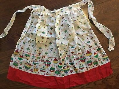 Vintage Christmas Half Apron Ornaments Sheer ~ BEAUTIFUL!