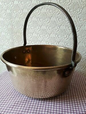 Vintage big brass  jam pan iron handle copper rivits. Combine Post up to 15Kg