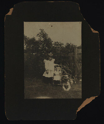 Little Girl with Dolly in Stroller and Collie Dog - Cabinet Photo Circa 191?